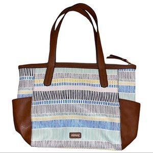 Fossil Mimi Shopper Leather Tote Bag - Navy Stripe